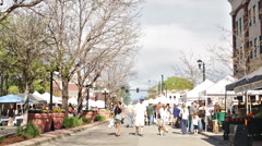 Summer farmers market on Main Street in Park Stock Footage