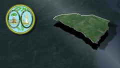 South Carolina Seal and animation map - stock footage