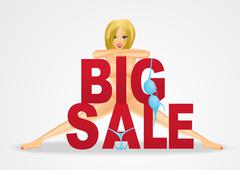 nude woman standing behind big sale text - stock illustration