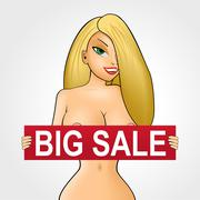 Nude girl with red big sale banner Stock Illustration