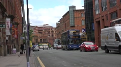 ULTRA HD 4K Bustling avenue Manchester old town famous red brick facade culture  Stock Footage
