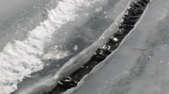 Water lever altering in a crack formed in ice Stock Footage