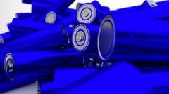 Stock of fallen blue batteries 2c against white background - stock illustration
