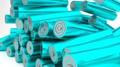 Stock of fallen cyan batteries 2b against white background - stock illustration