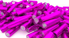 Stock of fallen magenta batteries 2 against white background - stock illustration