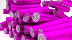 Stock of fallen magenta batteries 2b against white background - stock illustration