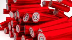 Stock of fallen red batteries 2b against white background - stock illustration