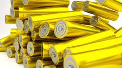 Stock of fallen yellow batteries 2b against white background - stock illustration