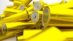 Stock of fallen yellow batteries 2c against white background - stock illustration
