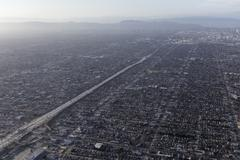 Stock Photo of Los Angeles Basin Smog Areial