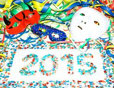 Carnival 2015 masks streamers confetti party Stock Photos