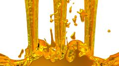 Pouring gold paint against white background 03 - stock illustration