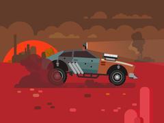 Driving Fast Retro Car Through Desert Stock Illustration