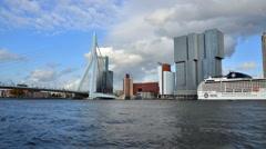 Erasmus Bridge with Rotterdam skyline. Stock Footage