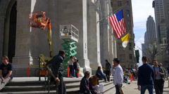 saint patrick cathedral construction work day light new york 4k usa - stock footage