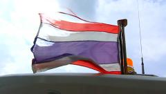 Thai Flag Ripped Blowing Wind Outdoors Speed Boat National Clouds Sky Hand Held Stock Footage