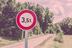 Traffic sign of 3,5 tons weigh restriction - stock photo