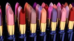 3D animation of various lipsticks Stock Footage