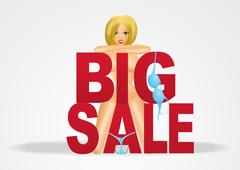 smiling nude woman with big sale text - stock illustration
