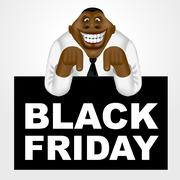 African american businessman with black friday banner Stock Illustration