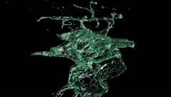Turquoise green water splash in slow motion, isolated on black (FULL HD) Stock Footage