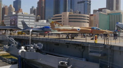 New york summer day famous intrepid museum jets 4k usa Stock Footage