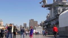 new york city summer day intrepid museum tourist walking pier 4k usa - stock footage