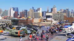 New york summer sunny day intrepid museum manhattan panorama 4k usa Stock Footage