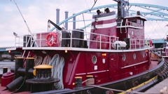 Tugboat at the dock in Providence, RI Stock Footage