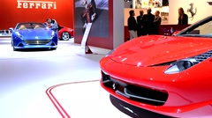 Ferrari 458 Spider and Ferrari California T sports cars Stock Footage