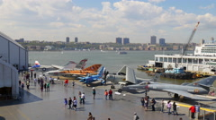 New york summer day intrepid museum hudson river view 4k usa Stock Footage