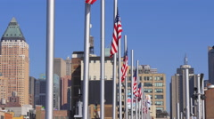 summer day sunny weather new york city american flags 4k usa - stock footage
