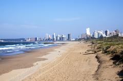Stock Photo of Durban Coastline at Low Tide with Hotels in Distance
