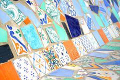 Colorful mosaic bench Stock Photos
