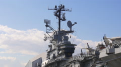 New york day intrepid museum aircraft carrier command  post 4k usa Stock Footage
