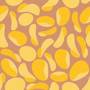 Potato chips background. Seamless pattern corrugated chips. Vector illustrati Stock Illustration