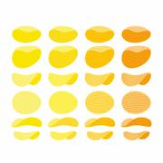 Set of potato chips. Golden, Orange and yellow wavy chips from different angl Stock Illustration