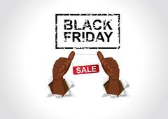 african american man poiting his thumbs to black friday sale banner - stock illustration