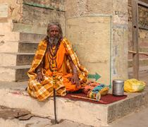 Hindu priest performs the Ganga Aarti ritual Stock Photos