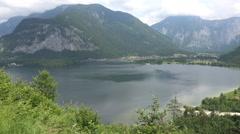 Austria mountain lake view panning alp meadow Stock Footage