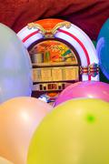 Party colorful balloon and jukebox background Kuvituskuvat