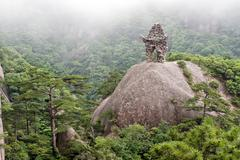 Chinese culture, mountain of Huangshan - stock photo