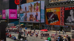 New york summer day times square advertising leds down to top 4k usa Stock Footage