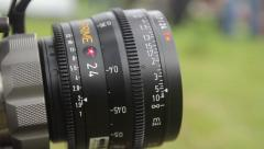 Lens cameras on the set.(film production) outdoors, day Stock Footage
