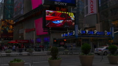 New york summer day times square famous police dept down to top 4k usa Stock Footage
