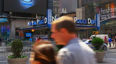 New york summer day famous time square police dept 4k usa Stock Footage