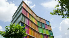 Timelapse of the modern and colorful MUSAC Modern Art Museum of Leon, Spain Stock Footage