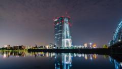Frankfurt am Main Skyline with ECB - motion timelapse - 4K UHD Stock Footage