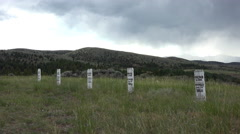 Virginia City Montana Boot Hill cemetery hanged headstones 4K Stock Footage