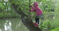 Close-up left side View Child Girl on The Lakeside Climbing a tree Stock Footage